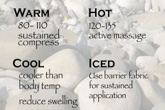 the temperatures for hot stone massage