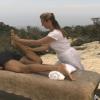 Quadriceps stretch during a swedish massage