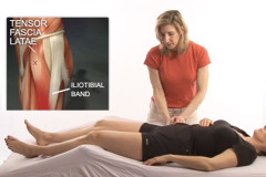 Sports massage on the tensor fascia latae for a runner
